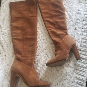 Aldo camel colored suede high heeled boots